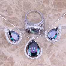 Glamorous Rainbow Mystic White CZ Silver Jewelry Sets Earrings Pendant Ring Size 6 / 7 / 8 / 9 / 10 S0464