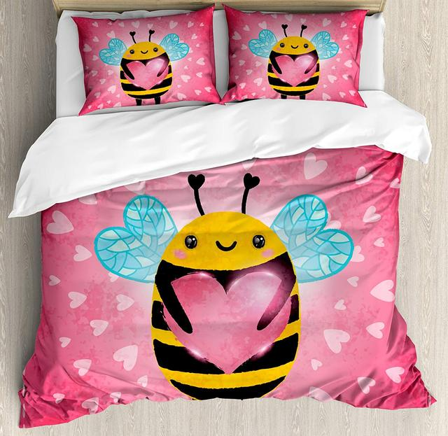 Queen Bee Duvet Cover Set Love Valentine's Day Bumblebee Holding a Giant Heart Cartoon Style 4 Piece Bedding Set