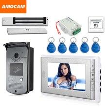 """7 """"ekran Görüntülü Kapı Telefonu Interkom 1 Monitör + RFID Erişim Kamera Su Geçirmez + 180 kg Elektrikli Manyetik Kilit + Kapı çıkış"""
