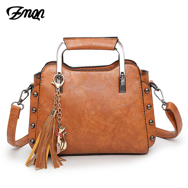ZMQN Women Messenger Bag Vintage PU Leather Shoulder And Handbag For Women 2018 Rivet Tassel Small Bags Metal Handle Bolsos C210 colorful pu leather strap for bag accessories handle with metal clasp for diy purse 10pcs lot