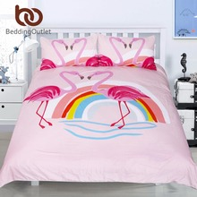 BeddingOutlet Rainbow Flamingo Bedding Sets Kids Girl King Size Pink Bird Printed Duvet Cover Set Cartoon Bedclothes 3pcs(China)