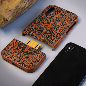 Image 2 - Carved Tiger Dragon Luxury Wood Phone Case For iPhone X XS Max XR 5 5S 6 6plus 6S 7 8 Plus iPhone se 2020 Full Wooden Case Cover