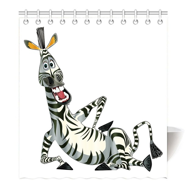 lustige lachen cartoon zebra duschvorhang druck wasserdicht mildewproof polyester stoff. Black Bedroom Furniture Sets. Home Design Ideas