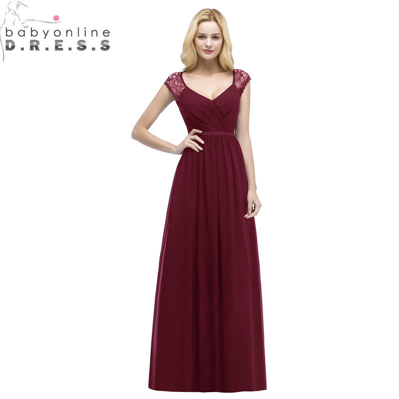 Sexy Open Back Lace Burgundy   Bridesmaid     Dresses   Cheap V Neck Chiffon Wedding Party   Dress   Robe Demoiselle D'honneur