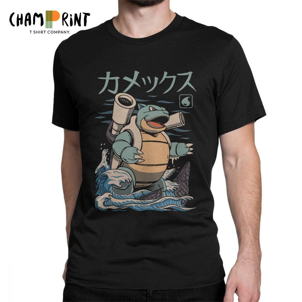 Men T-Shirts Grass Kaiju Blastoise Squirtle Pokemon Tops Japan Anime Humorous Cotton Tees Short Sleeve T Shirts Graphic