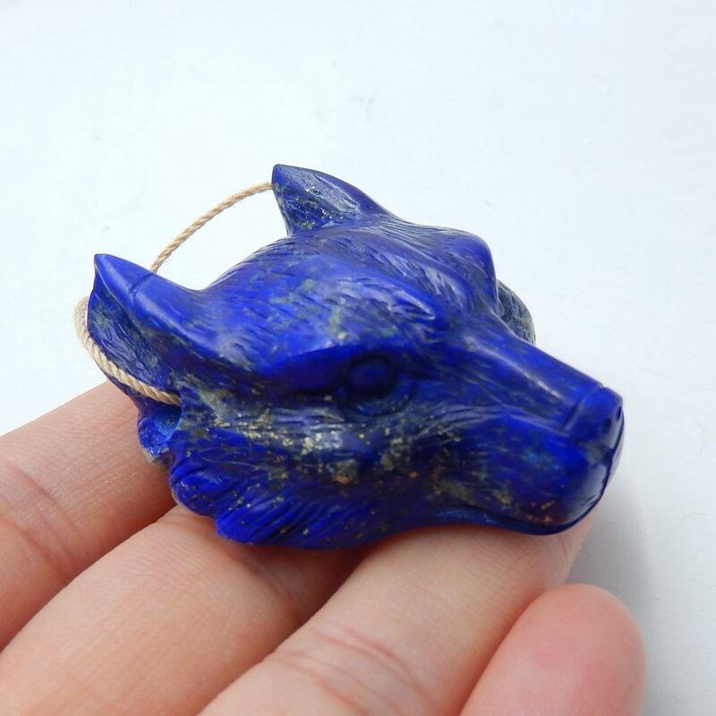 Perle de bijoux à bricoler soi-même Animal sculpté Lapis Lazuli naturel de haute qualité 42x37x18mm 37.2g tête de loup à la main à la mode pour ses meilleurs cadeaux - 4