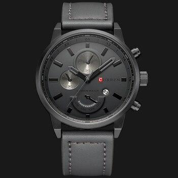 a145024f9159 Marca de lujo CURREN reloj hombre militar de cuarzo analógico deporte reloj  de cuero para hombre reloj con fecha Relogio Homem