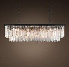 T 2016 New Large E14 LED Crystal Luxury Rectangular Pendant Light Modern Creative Iron Lamps for Dining Room Foyer Free Shipping