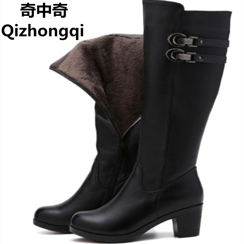2017 Women s warm winter boots women s genuine leather boots tall canister boots motorcycle boots