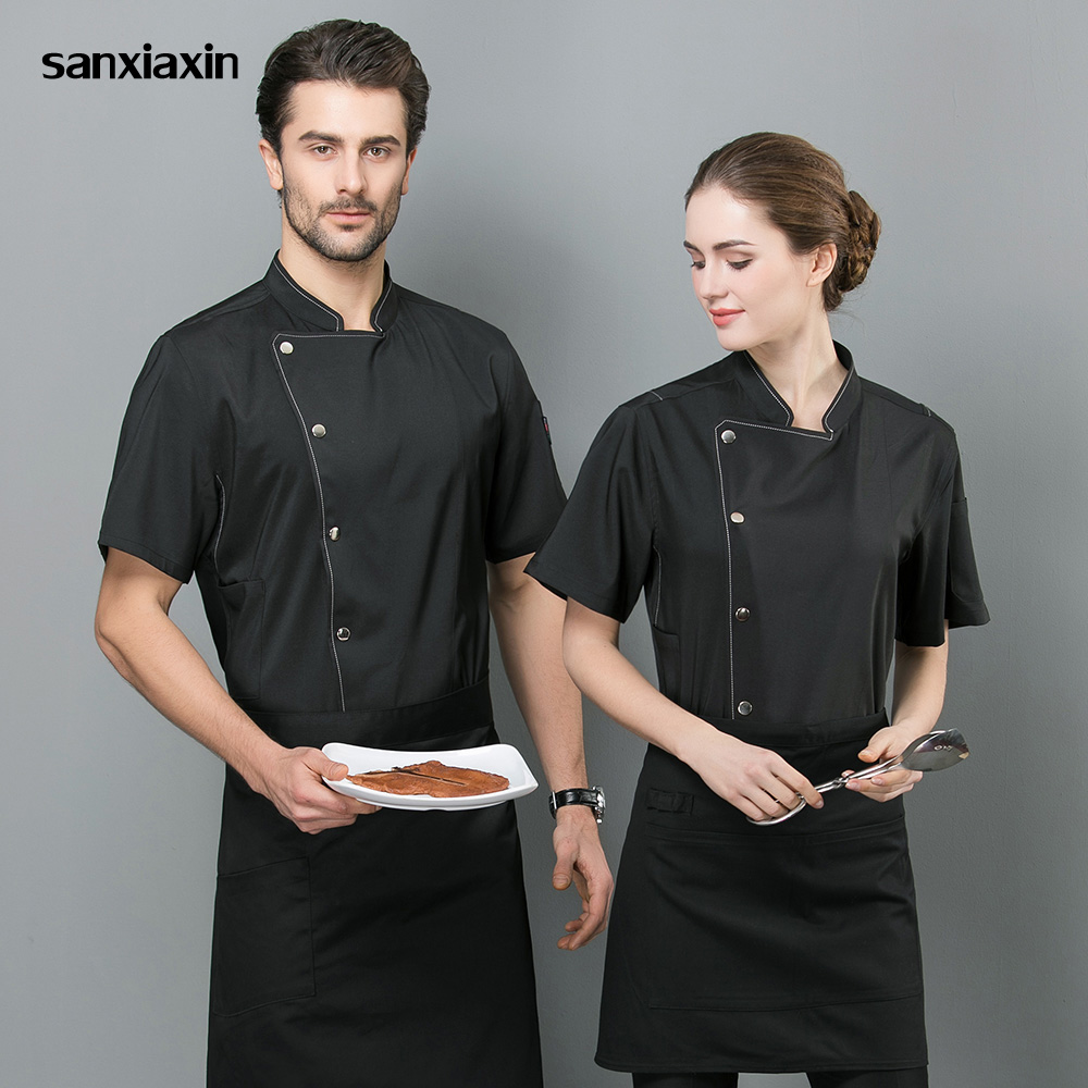 Unisex Short Sleeved Cooker Work Shirts Double Breasted Restaurant Kitchen Chef Jackets Black And White Hotel Catering Workwear