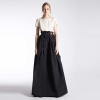 Formal Style Black Skirt Custom Made Empire Waistline A Line Floor Length Full Maxi Skirt Pleated