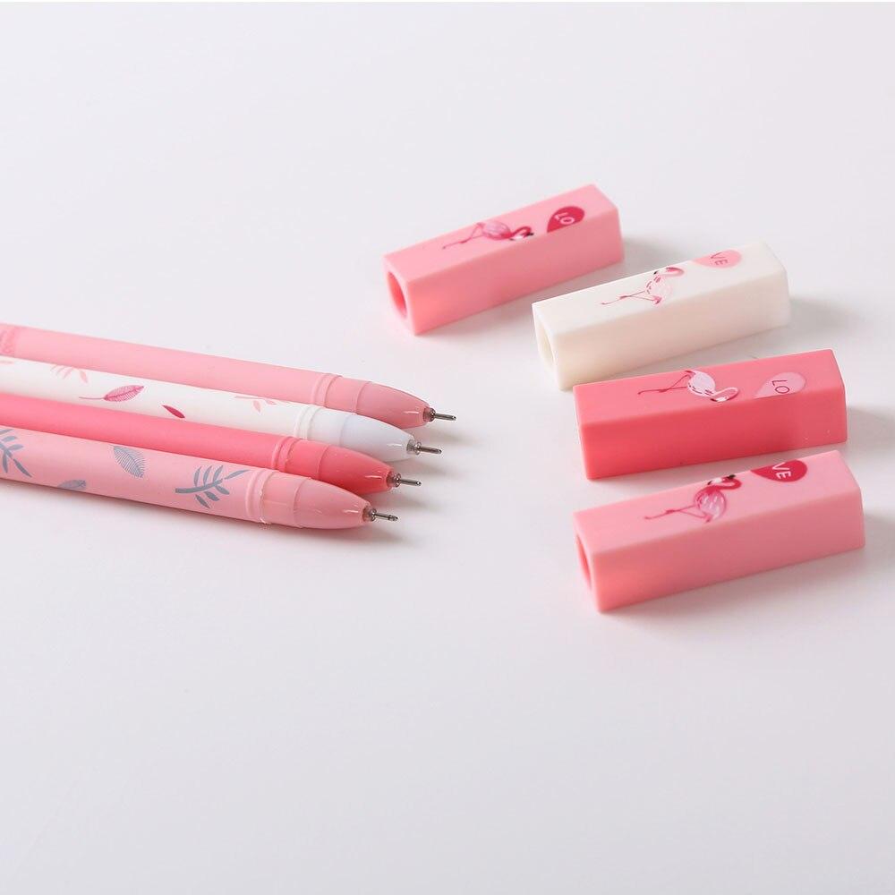 2pcs Lover Couple Flamingo Pens Gel Pens Kawaii Friendly Ink Pens Kid Gifts Cute