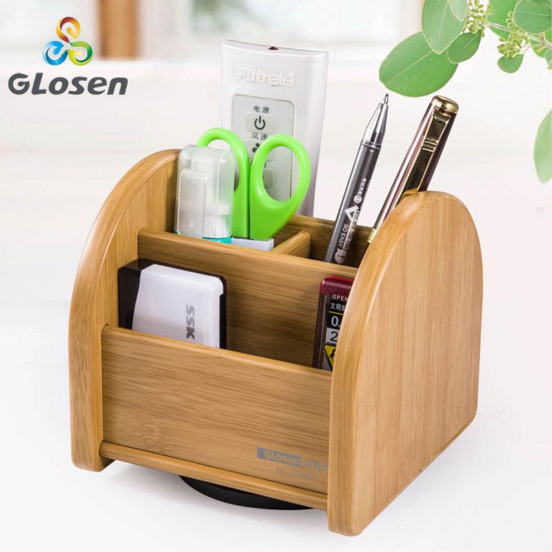 Glosen New Rotate Wood Pen Holders Multi Function Desk Desk Storage Box C2033 Office Supplies Stationery Pens Holders