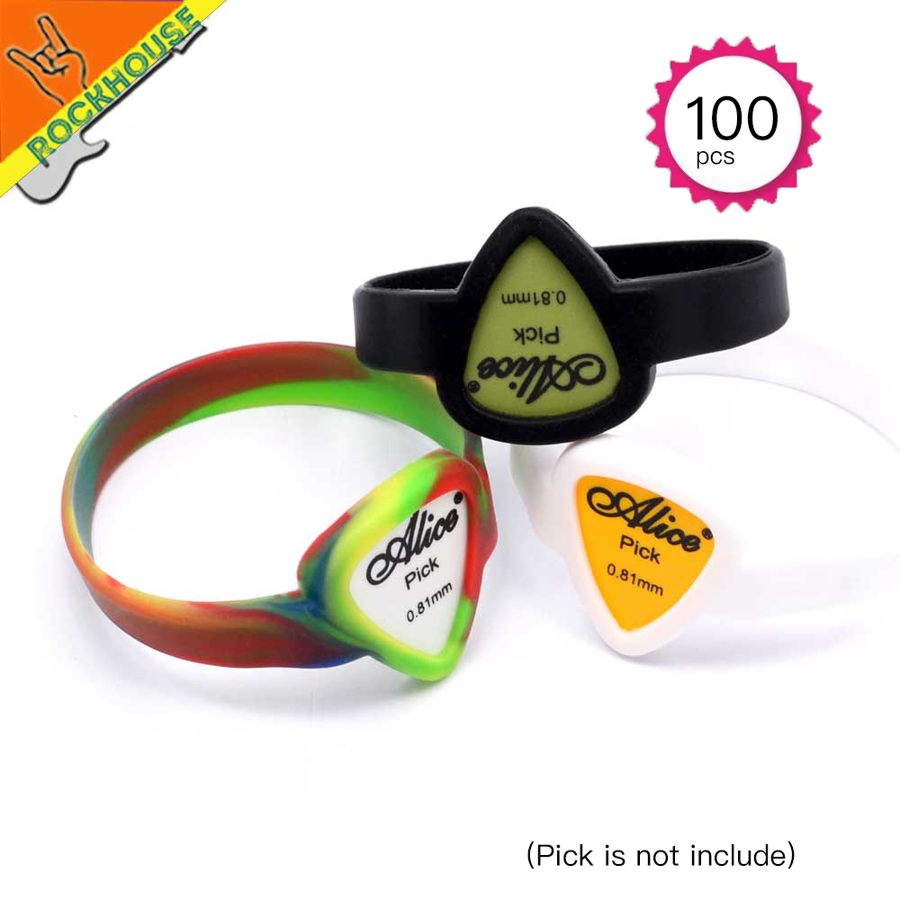 100pcs lot Wholesale Guitar Picks Bracelet Hand Chain Guitarra Picks Strap Bag Holder Waterproof Free Shipping