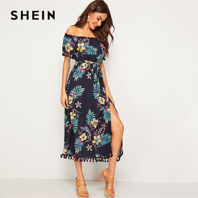 Women Summer Off the Shoulder High Waist Boho Long Dresses