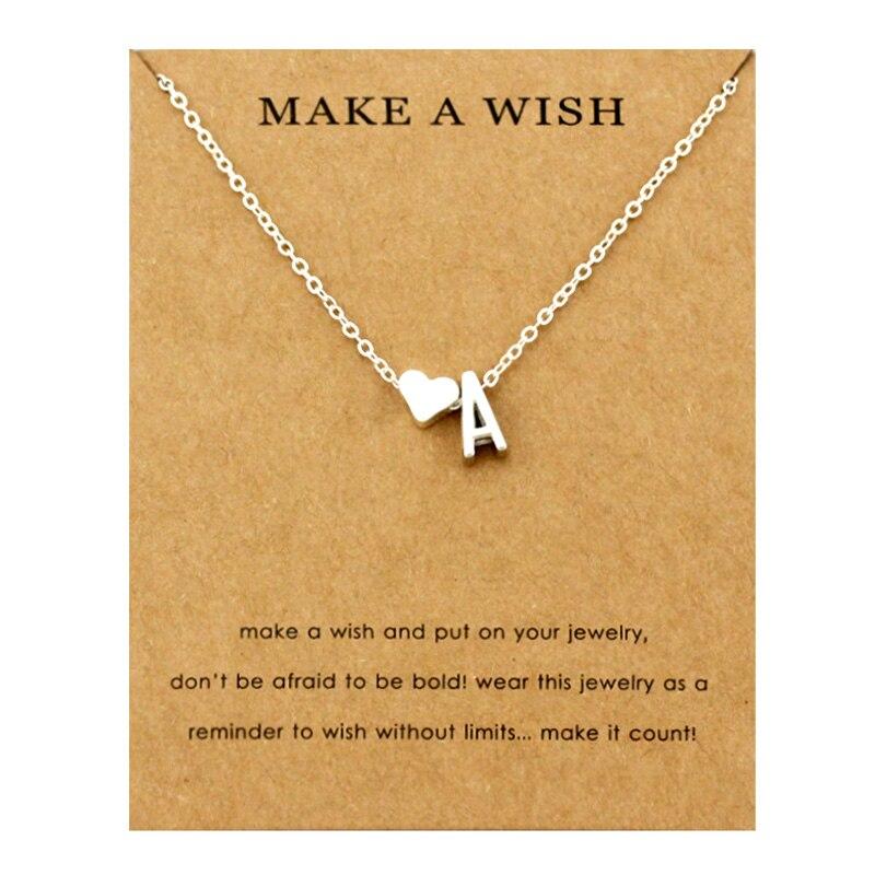 Сердце начальные Подвески ожерелье s персонализированное ожерелье с буквами Имя ювелирные изделия для женщин мужчин аксессуары подруги любовника пара подарок - Окраска металла: NE1655