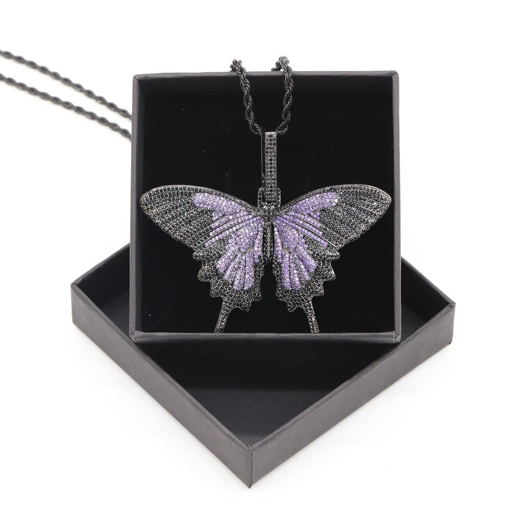 Plein CZ glacé sur cuivre papillon pendentif collier Bling Hip Hop rappeur danseur bijoux avec boîte-cadeau