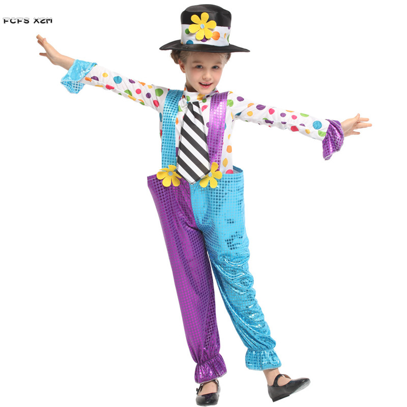 Girls Halloween Circus Clown Costumes Kids Children Joker droll Cosplays Carnival Purim parade Stage play Masquerade party dress
