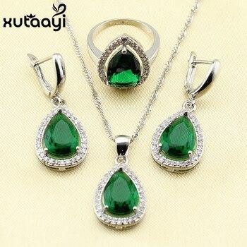 925 Silver Water Drop Wedding Jewelry Set For Women Green Stones White crystal Bracelet Earrings Necklace Pendant Rings