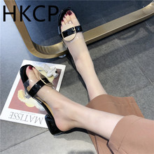 HKCP Fashion 2019 spring and summer new transparent sandals thick with shoes women Korean version wearing fashion C351