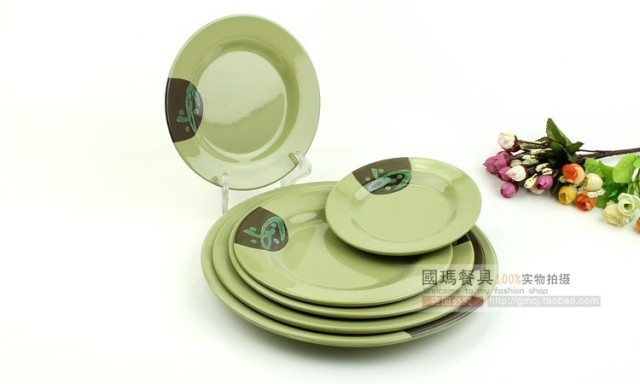 10inch Wedding Serving Sandwich Plates Chinese Melamine Dinnerware Plastic Fish Dish Printed Green Restaurant Salad Pizza