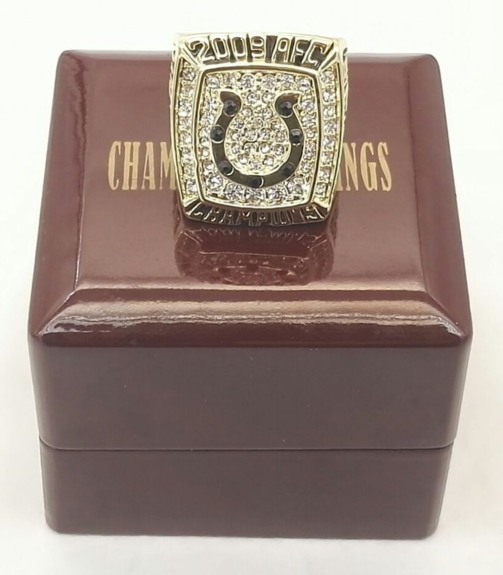 Bottom price for A.F.C 2009 Indianapolis Colts Replica High Quality world Men Championship Ring with Gorgeous Wooden Boxes