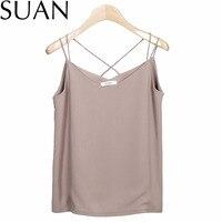 סואן 2017 נשים חדשות קיץ שיפון Camis Vest חולצות וסטים Tees Slim מוצק צבע שיפון מעשה טלאים מקרית חולצות 2332 מותג