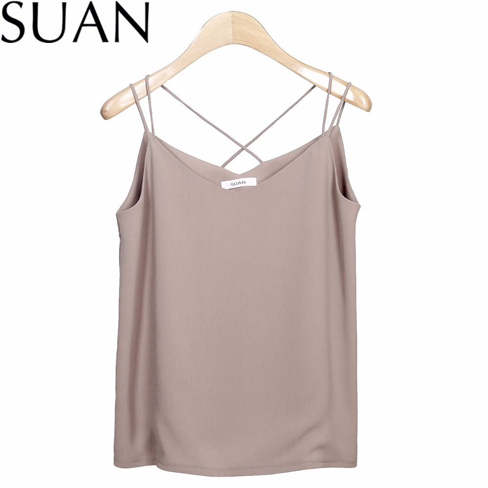 SUAN 2018 Vests New Women Chiffon Camis Vest Tops Tees Slim Solid Color Chiffon Patchwork Casual Tank Tops 2332 Brand