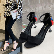 Mixed Band Sandalias De Verano Para Mujer Mature Sweet High Heels Elegane Fashion