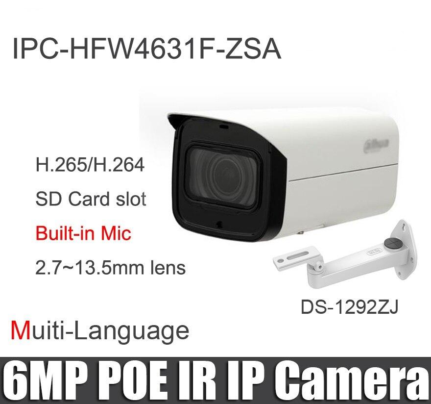 Original IPC HFW4631F ZSA 6MP IP camera 2 7 13 5mm motorized lens H 265 built