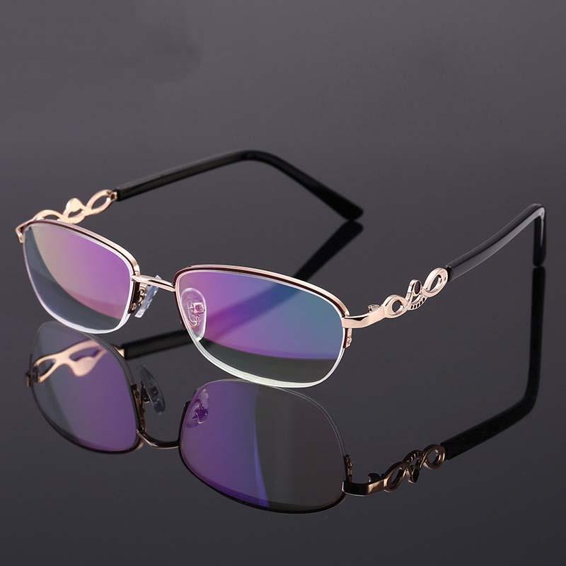 Fashion Presbyopia Spectacles Reading Glasses Women Luxury Brand Gold Semi-Rimless Design Eyeglasses Gafas +1.0~ 4.0 Diopter