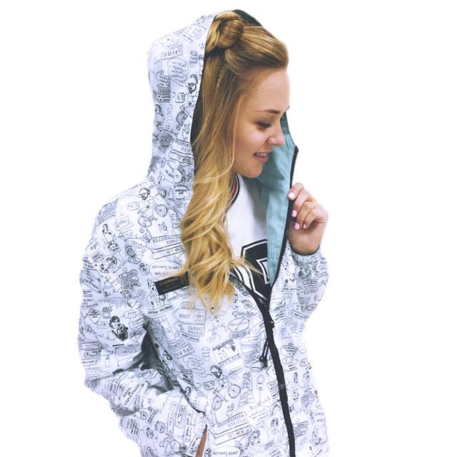 2016 Otoño Moda mujeres Bomber Chaqueta Básica Bolsillo con Cremallera con capucha desgaste dos laterales Delgados casuales Rompevientos Abrigo suelta más