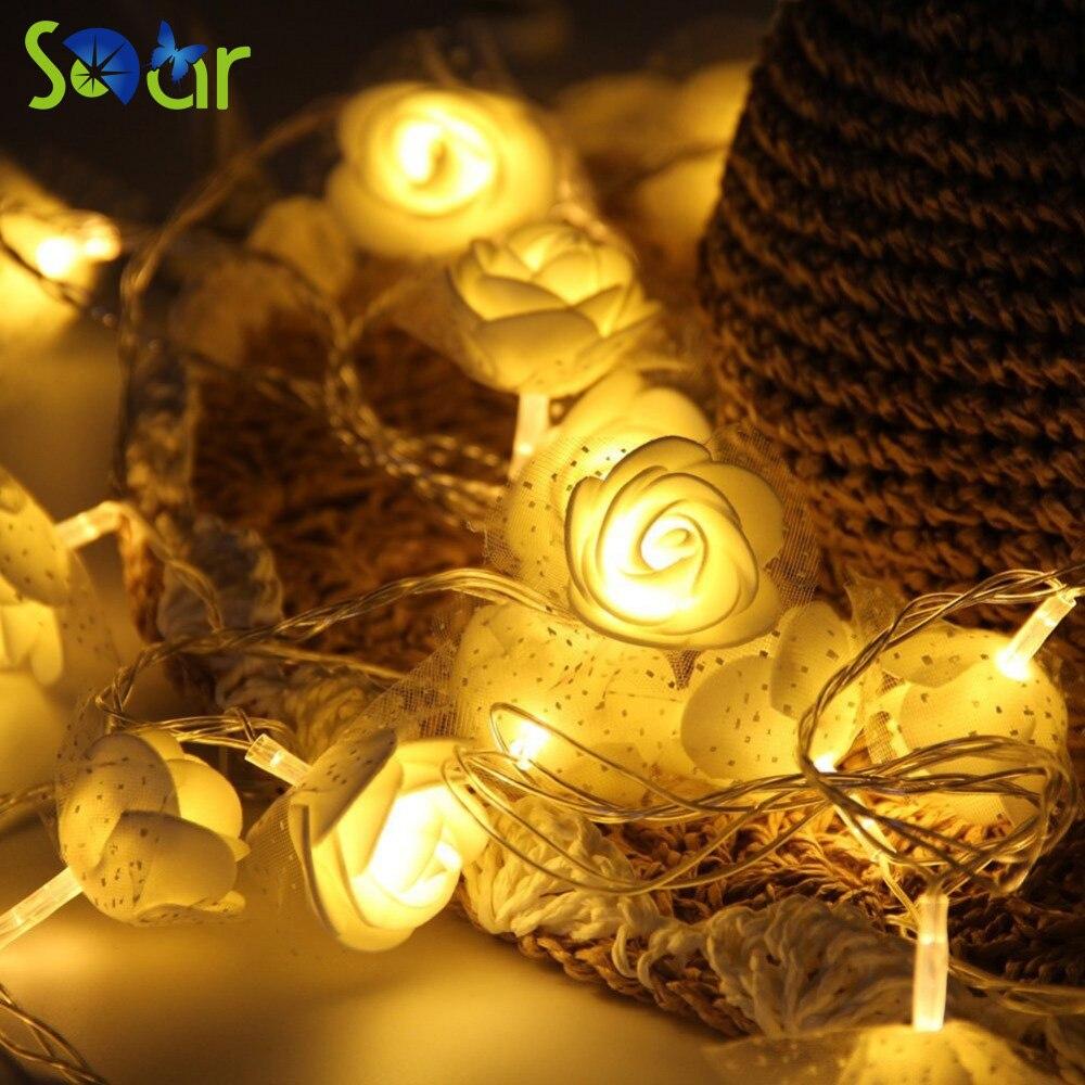 2Pack 7.2 feet Novelty Battery Christmas Lights 20 Flowers Led ...