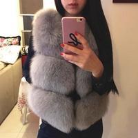 plus size 4XL 2018 Winter Women Thick Warm Faux Fox Fur Vest High Quality Fashion O Neck Short Fur Coat Women