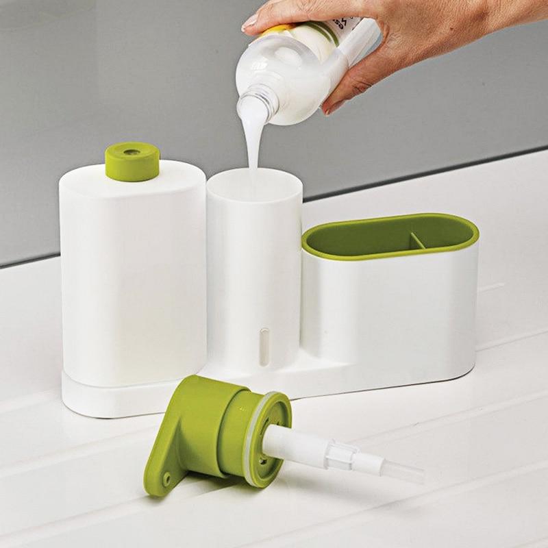 Kitchen Detergent Dispensers Stand Foam Liquid Soap Dispenser Set Sink Bathroom Automatic Hand Wash Sponge Storage Shelf