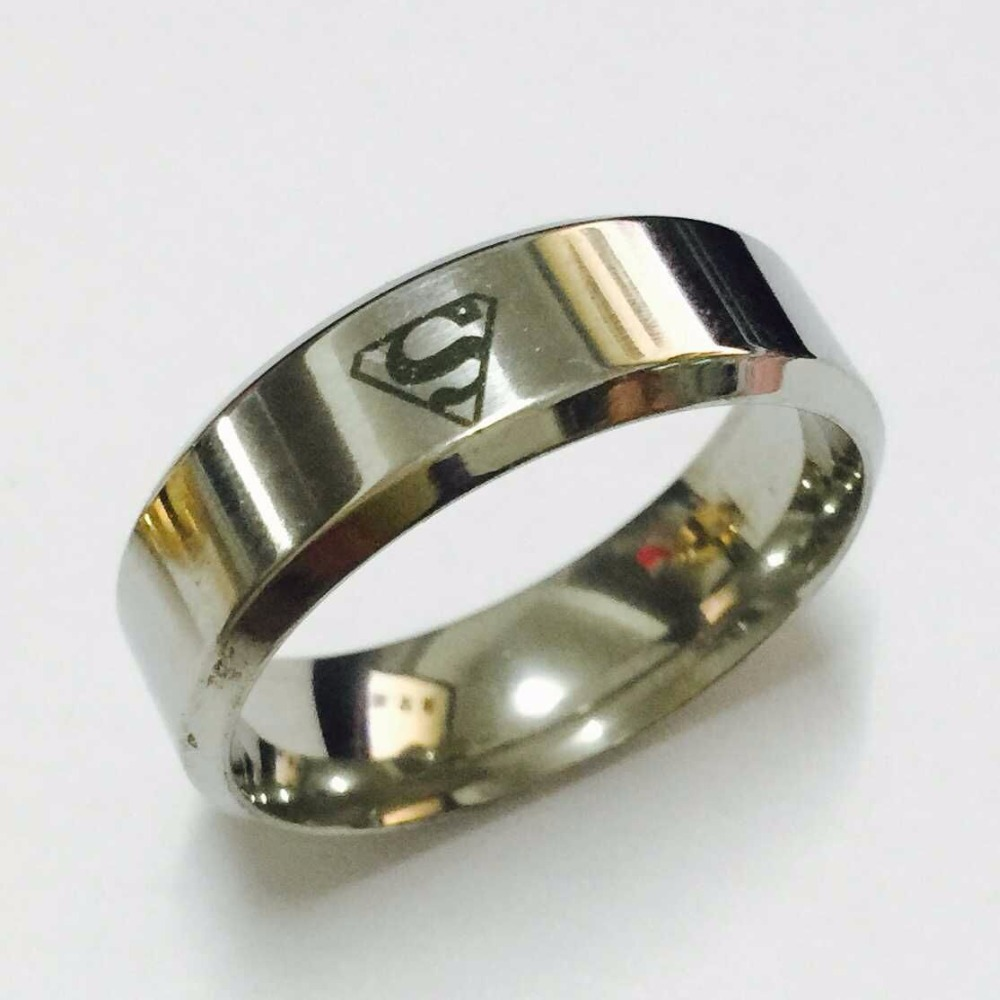 Cool boys girls 8mm white gold silver color superman hero rings ...