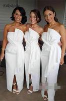 Белые Сатиновые платья подружки невесты без бретелек Ruched Разделение Для женщин длинное платье для Свадебная вечеринка для женщины robe demoiselle