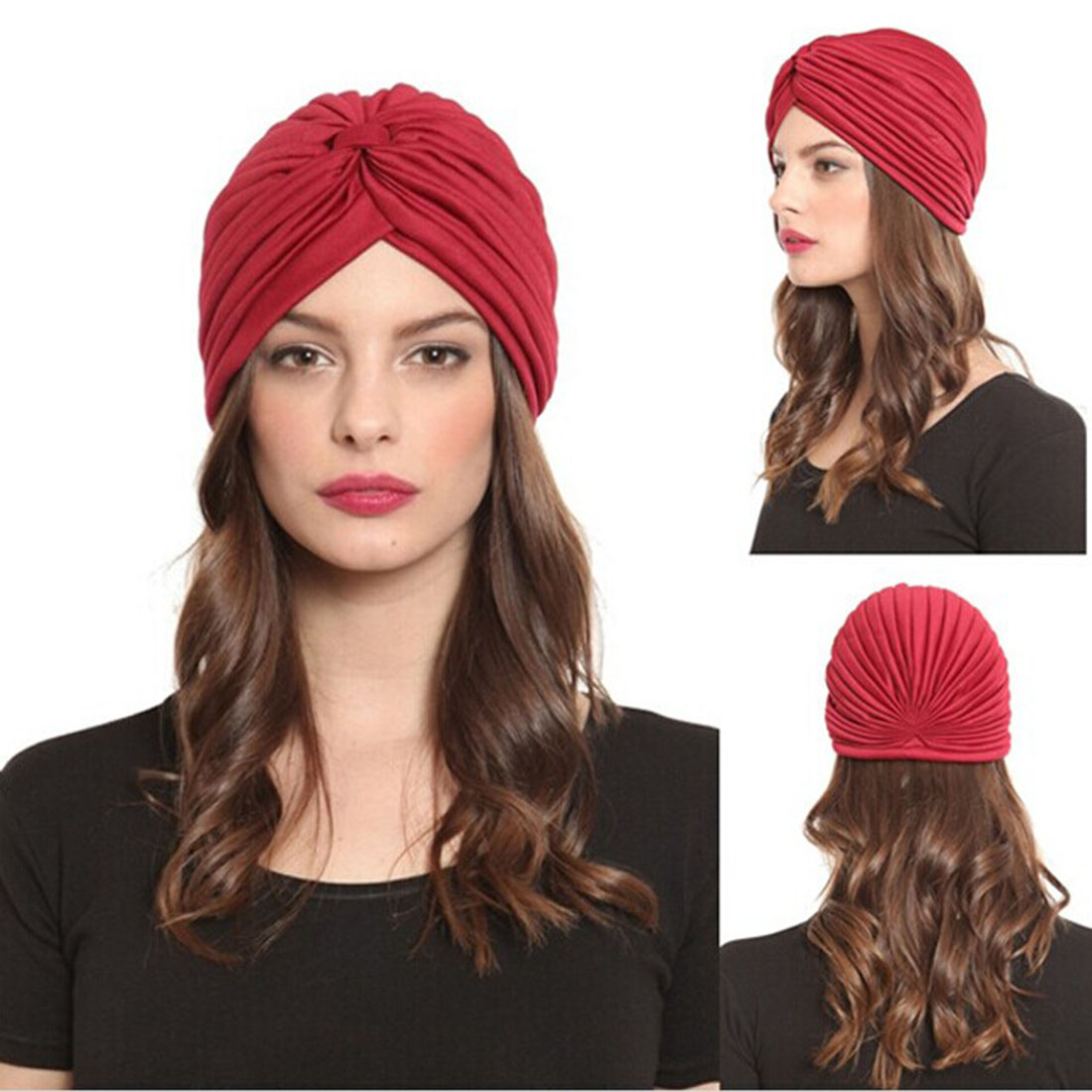 e2f4f4d3222 Women Hats Men Stretchy Turban Head Wrap Band Pleated Indian Women India Caps  Hat Ear Cap 23 Color Casual Lady New 2018 Hats-in Skullies   Beanies from  ...