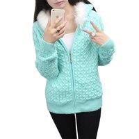 Sonbahar Kış Kadın artı kadife örme Kazak Ceket kapüşonlu kürk yaka sıcak kısa Paragraf Kadın Örgü Hırka Kazak LJ239