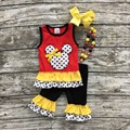 2016 new girls  kids polka dot minnie top red  yellow sets sleeveless baby ruffle capris boutique  with necklace and headband