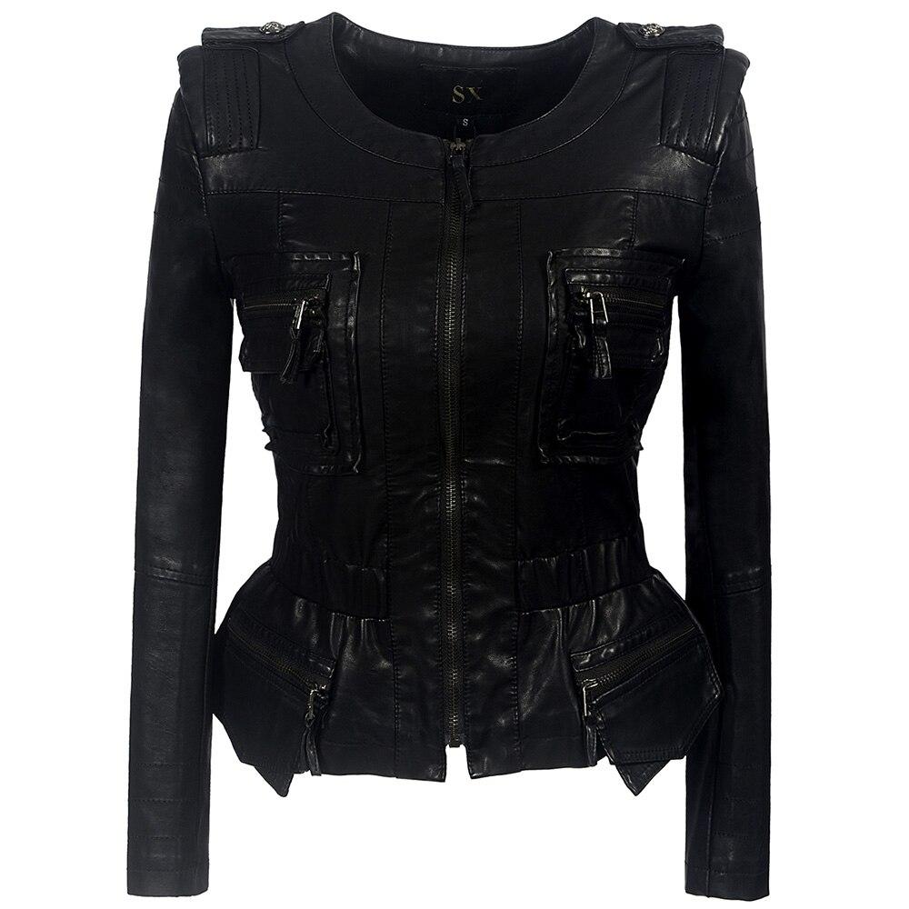 Ruffle Gothic faux   leather   PU Jacket Women Winter Autumn Fashion Motorcycle Jacket Black faux   leather   coats 2018 Coat Outerwear