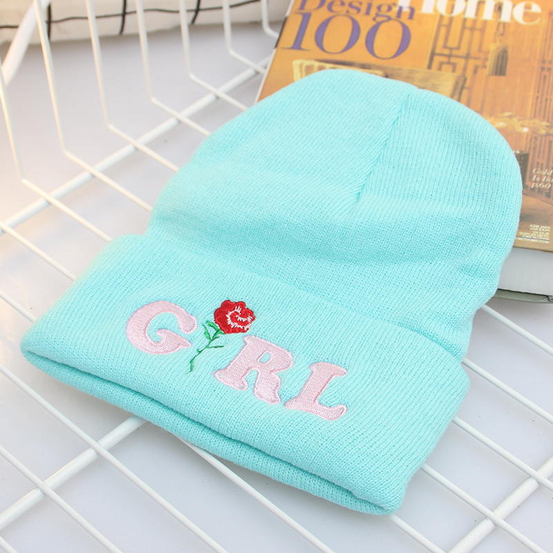 New Girls Fashion Winter Hat Unisex   Skullies     Beanies   Rose Embroidery Acrylic Knitted Caps Spring Casual Women   Beanies   Hat