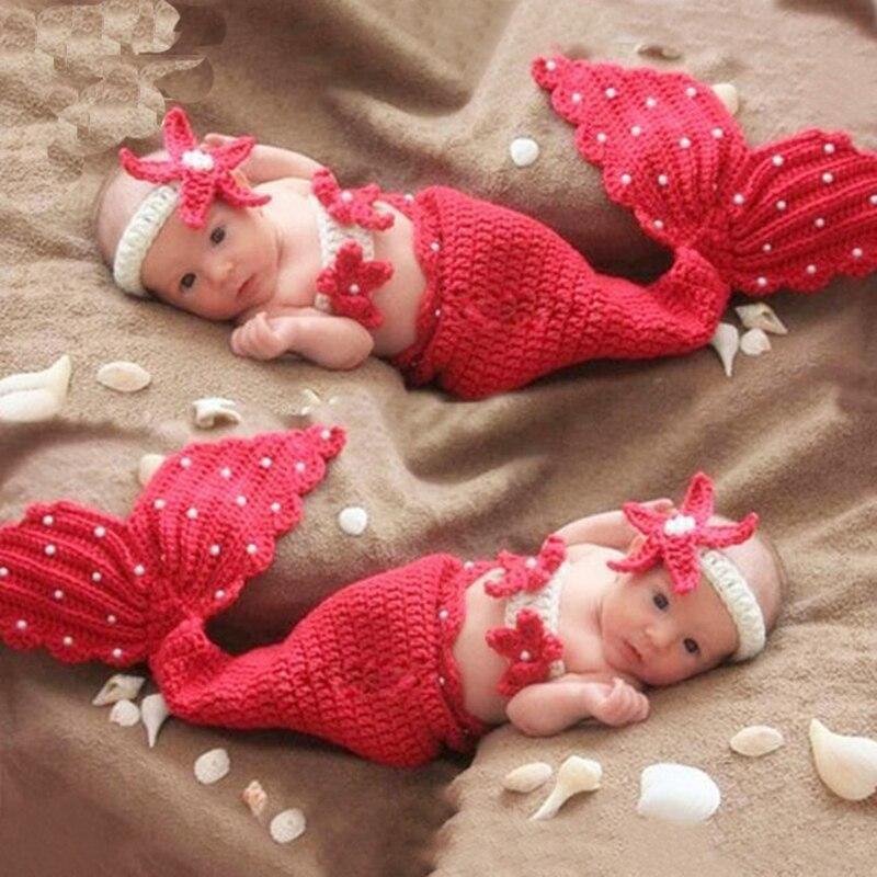 Baby Fotografie Requisiten Neugeborenen Mädchen Häkeln Strand Meerjungfrau Fotografie Requisiten Tiny Baby Mädchen Foto Schießen Cartoon Outfits Kleidung BerüHmt FüR AusgewäHlte Materialien, Neuartige Designs, Herrliche Farben Und Exquisite Verarbeitung