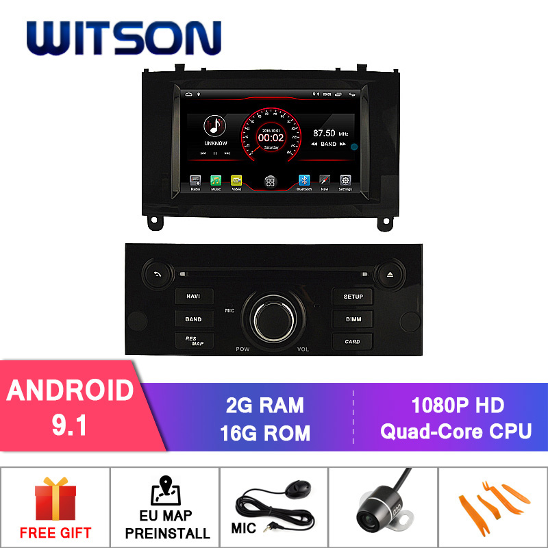 WITSON Android 9 1 CAR STEREO GPS For PEUGEOT 407 car dvd player 1080P HD Mirror