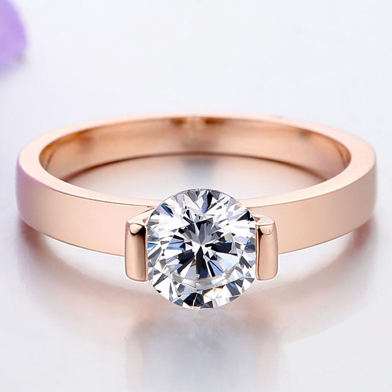 THREEMAN Moissanite Ring Solid 585 Rose Ring 1Carat