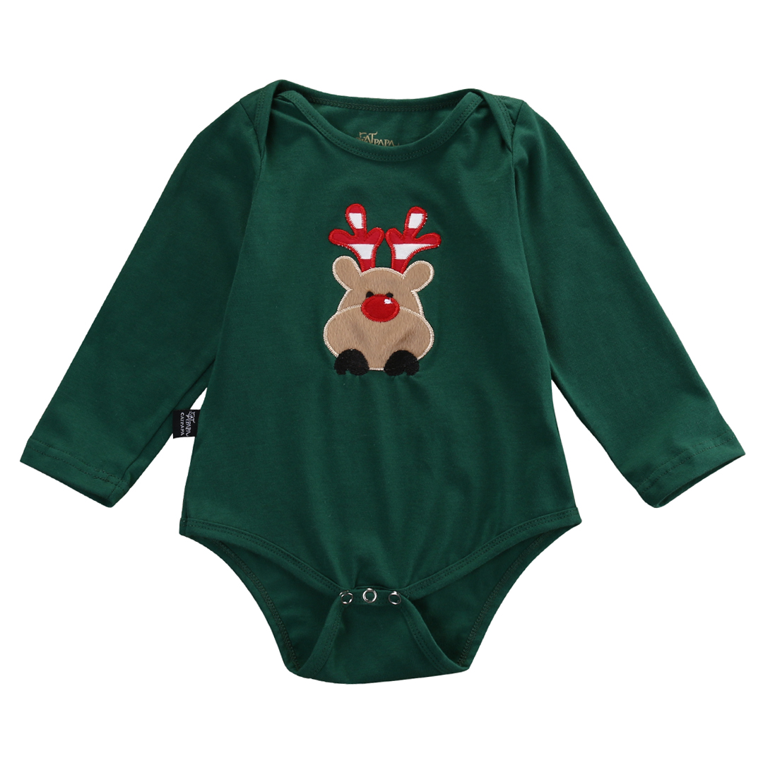 Newborn Infant Baby Boy Girl Christmas Deer Bodysuits Onesie Babies Xmas Playsuit Outfits New Clothing