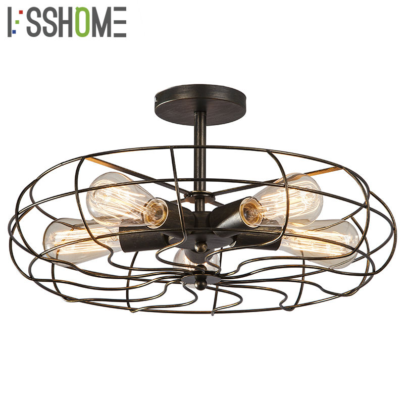 [VSSHOME] Ceiling Lights Fan Style American Vintage Retro Industrial Lighting Cafe Restaurant Living Room Lamps 5PCS*E27 Holder sinfull loft american personality ceiling lights vintage electric fan ceiling lighting e27 bulb lamp bar cafe lamps hot sale