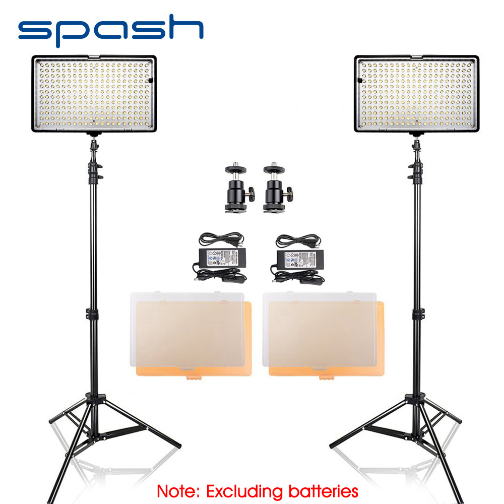 spash TL-240S LED Video Light 2 in 1 Kit Camera Photo Studio Lamp led Studio Light Panel Photography Lighting with Tripod CRI 93 travor 2 in 1 photography 160 led studio lighting kit dimmable ultra high power panel digital camera dslr camcorder led light
