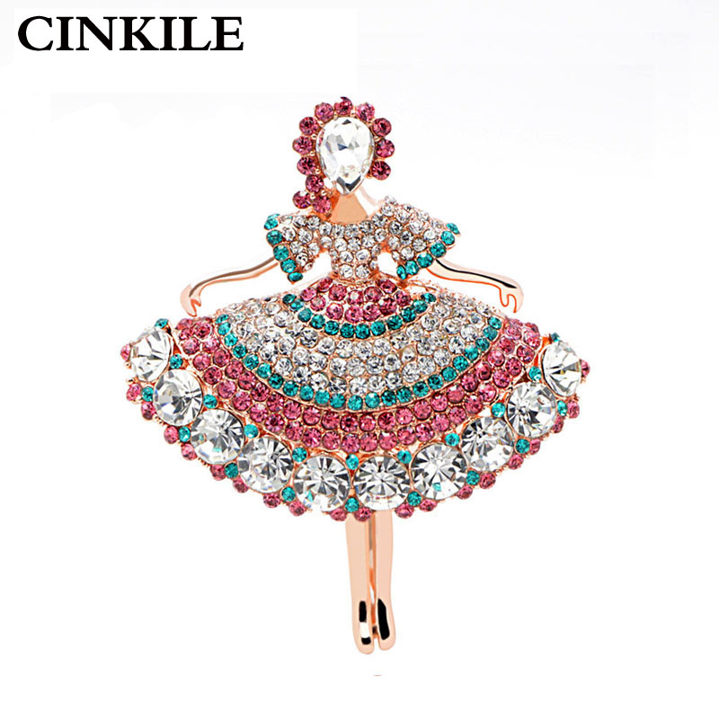 CINKILE Full Rhinestone Girl Brooches for Women Luxury Dress Coat Pins Accessories Fashion Party Casual Jewelry Gift 2018