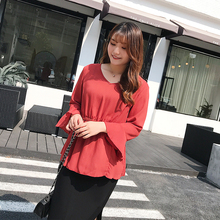 Korean womens dress large size chiffon top summer new xianqi show thin cover belly shirt 2019